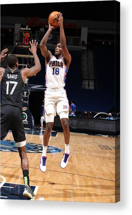Nba Pro Basketball Acrylic Print featuring the photograph Philadelphia 76ers v Minnesota Timberwolves by David Sherman