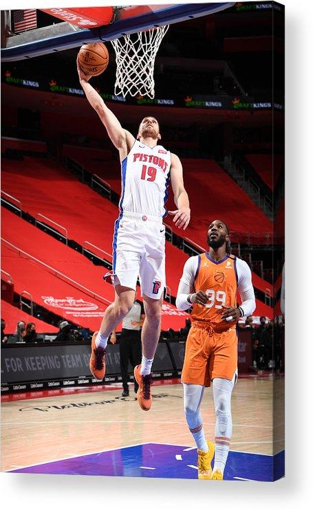 Nba Pro Basketball Acrylic Print featuring the photograph Phoenix Suns v Detroit Pistons by Chris Schwegler