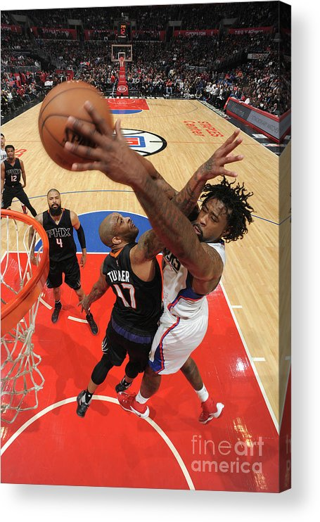 Nba Pro Basketball Acrylic Print featuring the photograph P.j. Tucker and Deandre Jordan by Andrew D. Bernstein