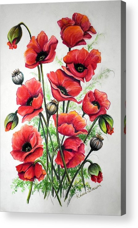 Red Acrylic Print featuring the drawing Poppies In Pastel by Karin Dawn Kelshall- Best