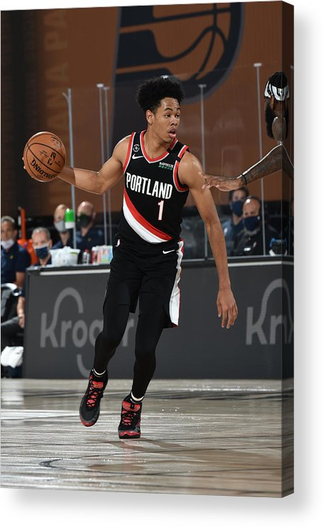 Nba Pro Basketball Acrylic Print featuring the photograph Portland Trail Blazers v Indiana Pacers by David Dow