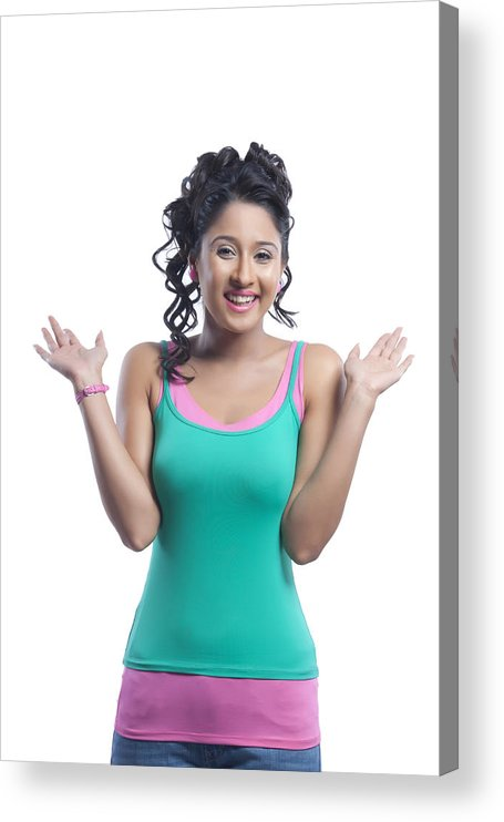 Three Quarter Length Acrylic Print featuring the photograph Portrait of young woman smiling by Sudipta Halder