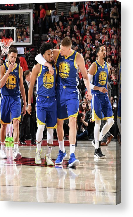 Nba Pro Basketball Acrylic Print featuring the photograph Quinn Cook and Jonas Jerebko by Andrew D. Bernstein