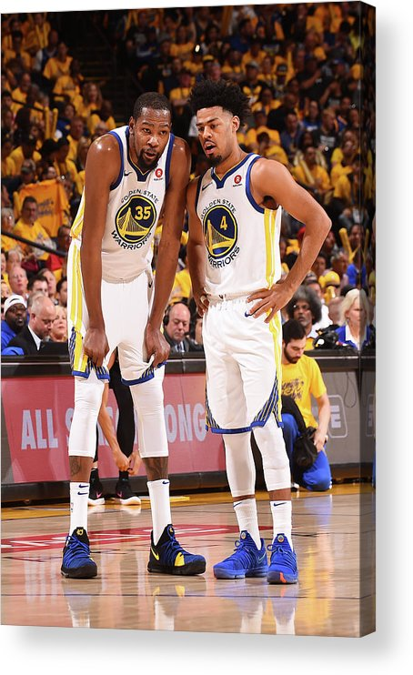 Playoffs Acrylic Print featuring the photograph Quinn Cook and Kevin Durant by Noah Graham