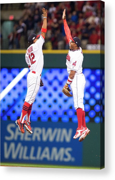 People Acrylic Print featuring the photograph Rajai Davis And Francisco Lindor by Michael Ivins/boston Red Sox