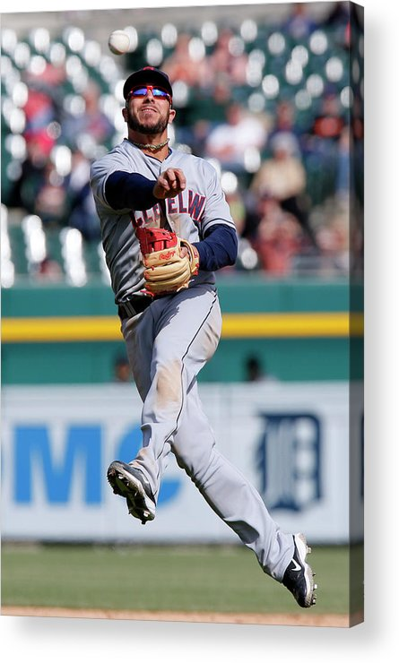 American League Baseball Acrylic Print featuring the photograph Rajai Davis and Mike Aviles by Duane Burleson