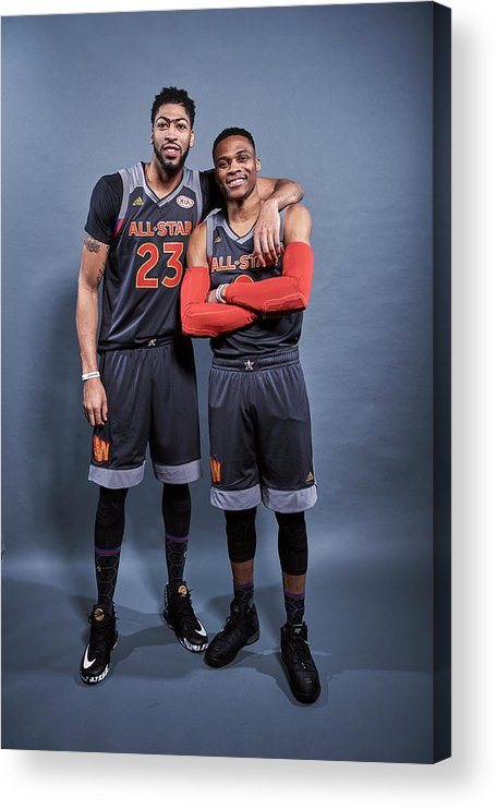 Event Acrylic Print featuring the photograph Russell Westbrook and Anthony Davis by Jennifer Pottheiser