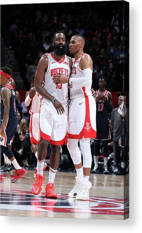 Nba Pro Basketball Acrylic Print featuring the photograph Russell Westbrook and James Harden by Stephen Gosling
