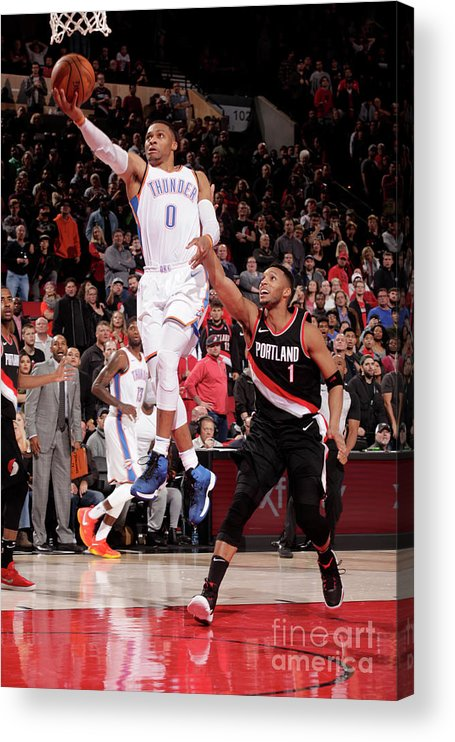 Nba Pro Basketball Acrylic Print featuring the photograph Russell Westbrook by Cameron Browne