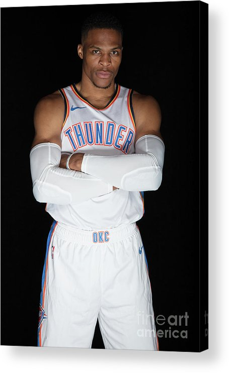Media Day Acrylic Print featuring the photograph Russell Westbrook by Michael J. Lebrecht Ii