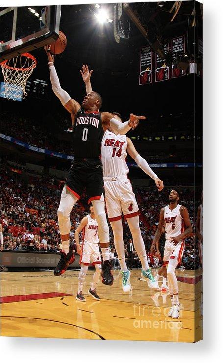 Nba Pro Basketball Acrylic Print featuring the photograph Russell Westbrook by Oscar Baldizon