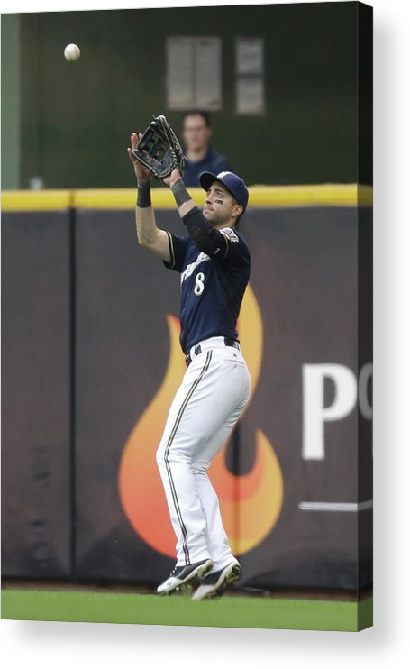 People Acrylic Print featuring the photograph Ryan Braun and Howie Kendrick by Mike Mcginnis