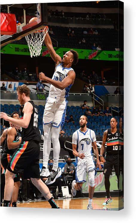 Nba Pro Basketball Acrylic Print featuring the photograph San Antonio Spurs v Orlando Magic by Gary Bassing