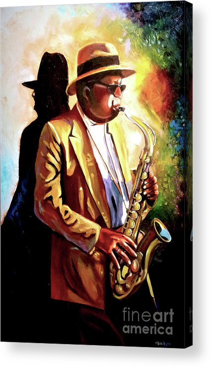 Sax Acrylic Print featuring the painting Sax Player by Jose Manuel Abraham