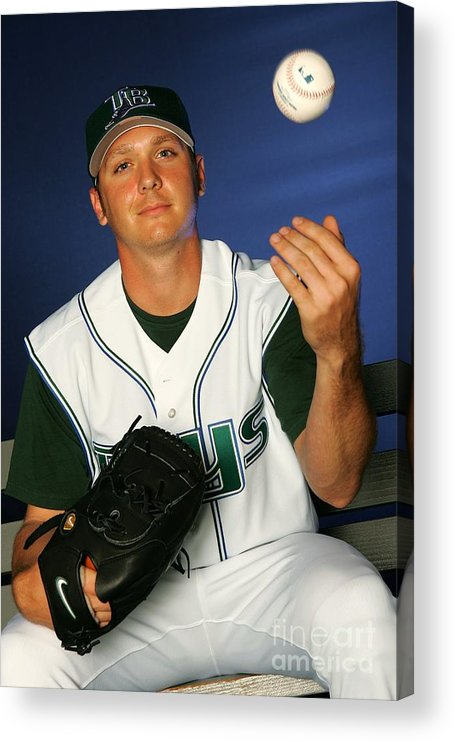 Media Day Acrylic Print featuring the photograph Scott Kazmir by Jamie Squire