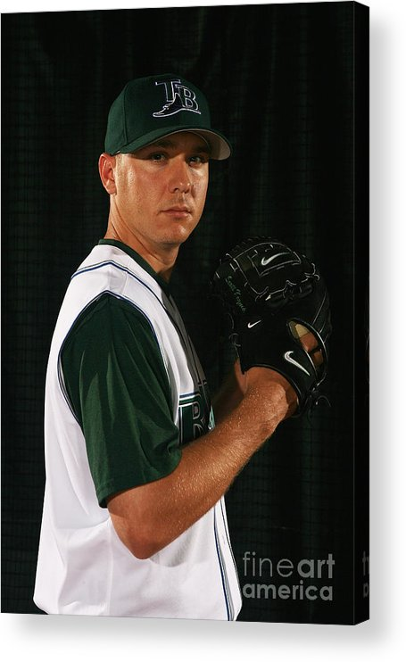 Media Day Acrylic Print featuring the photograph Scott Kazmir by Nick Laham