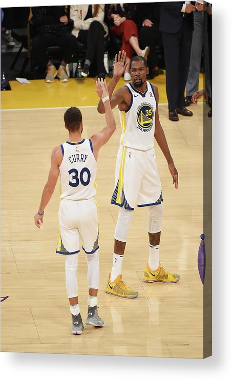 Nba Pro Basketball Acrylic Print featuring the photograph Stephen Curry and Kevin Durant by Adam Pantozzi