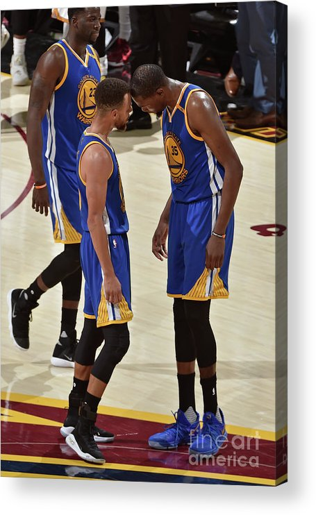 Playoffs Acrylic Print featuring the photograph Stephen Curry and Kevin Durant by David Liam Kyle