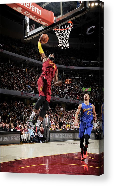 Nba Pro Basketball Acrylic Print featuring the photograph Stephen Curry and Lebron James by David Liam Kyle