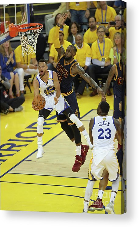 Playoffs Acrylic Print featuring the photograph Stephen Curry and Lebron James by Joe Murphy