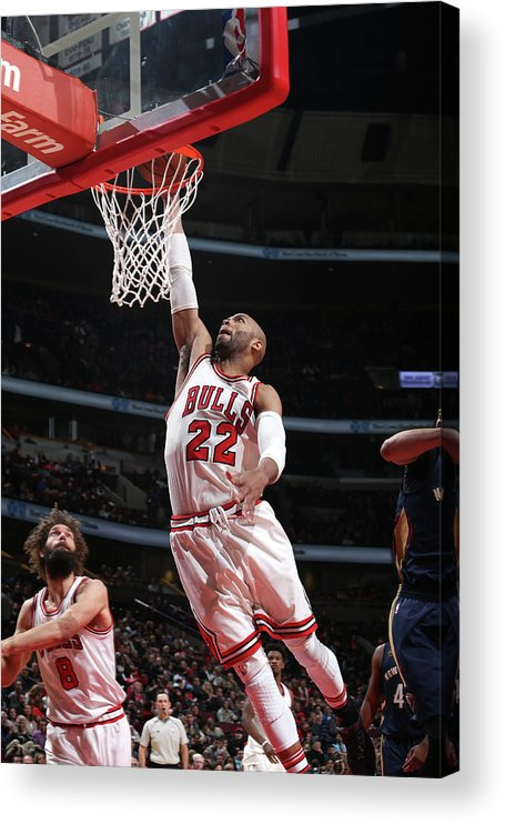 Nba Pro Basketball Acrylic Print featuring the photograph Taj Gibson by Gary Dineen