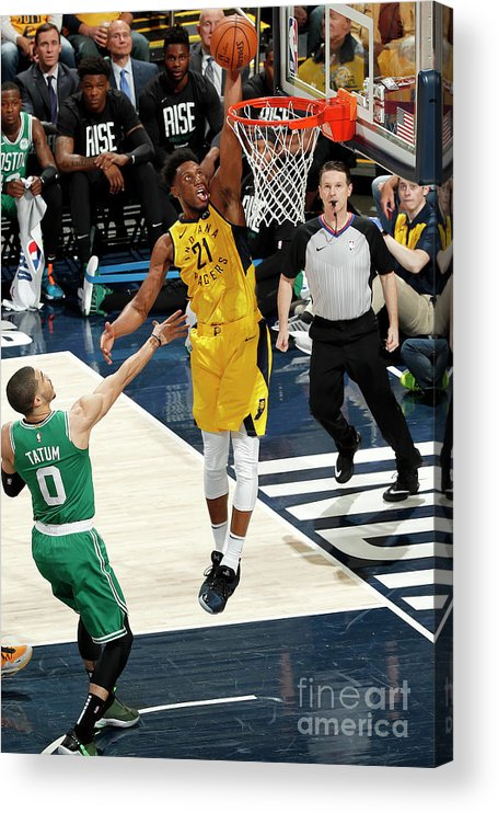 Playoffs Acrylic Print featuring the photograph Thaddeus Young by Jeff Haynes