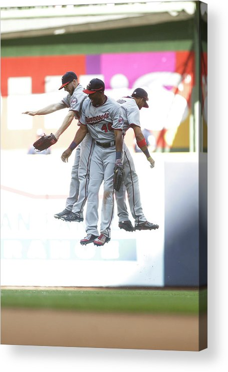 People Acrylic Print featuring the photograph Torii Hunter and Eduardo Escobar by Mike Mcginnis