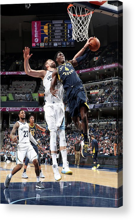 Nba Pro Basketball Acrylic Print featuring the photograph Victor Oladipo and Marc Gasol by Joe Murphy