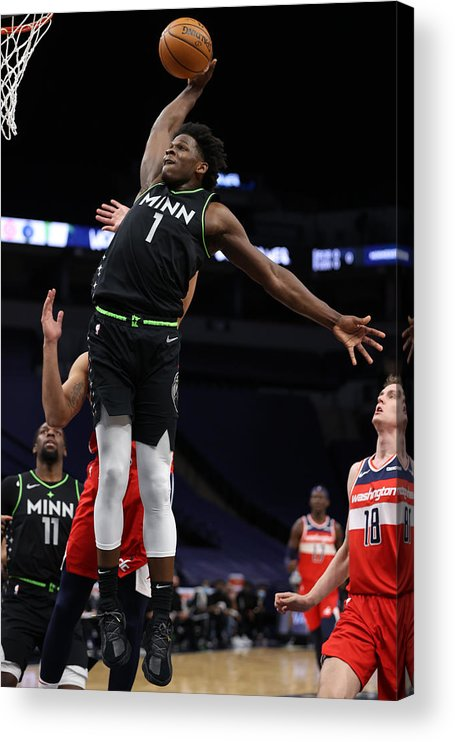 Nba Pro Basketball Acrylic Print featuring the photograph Washington Wizards v Minnesota Timberwolves by Jordan Johnson