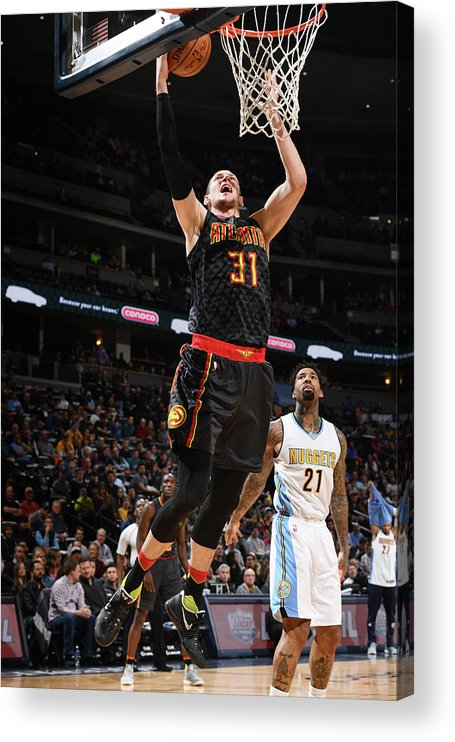 Nba Pro Basketball Acrylic Print featuring the photograph Wilson Chandler and Mike Muscala by Garrett Ellwood