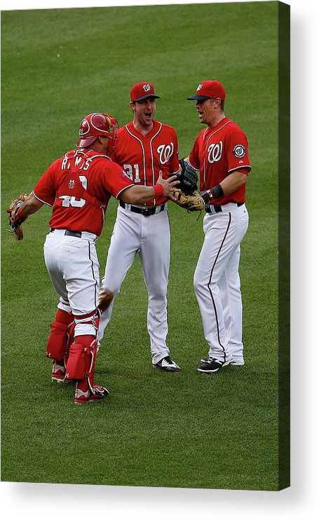 People Acrylic Print featuring the photograph Wilson Ramos, Max Scherzer, and Tyler Moore by Rob Carr