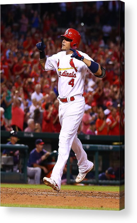 St. Louis Cardinals Acrylic Print featuring the photograph Yadier Molina by Dilip Vishwanat