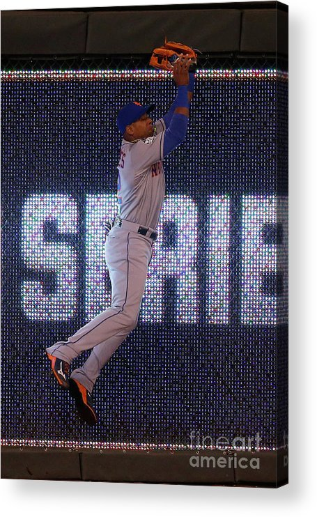 Game Two Acrylic Print featuring the photograph Yoenis Cespedes and Alex Rios by Christian Petersen