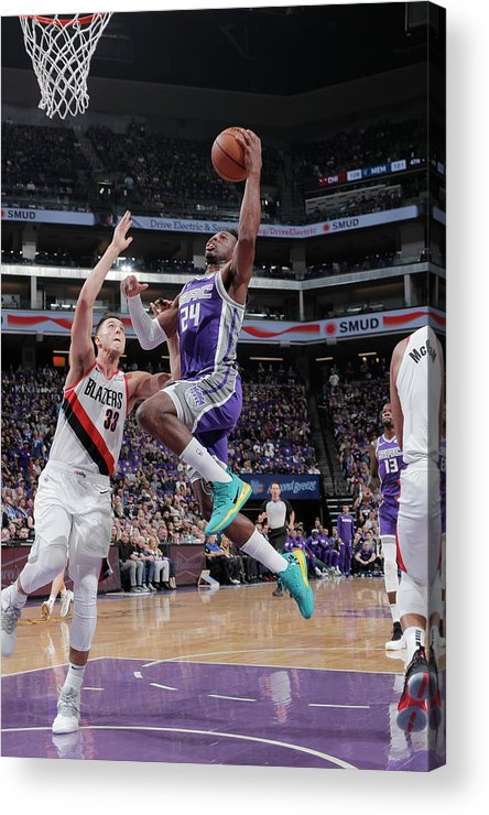 Nba Pro Basketball Acrylic Print featuring the photograph Zach Collins and Buddy Hield by Rocky Widner