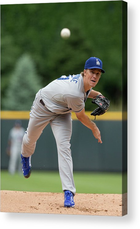 Los Angeles Dodgers Acrylic Print featuring the photograph Zack Greinke by Justin Edmonds