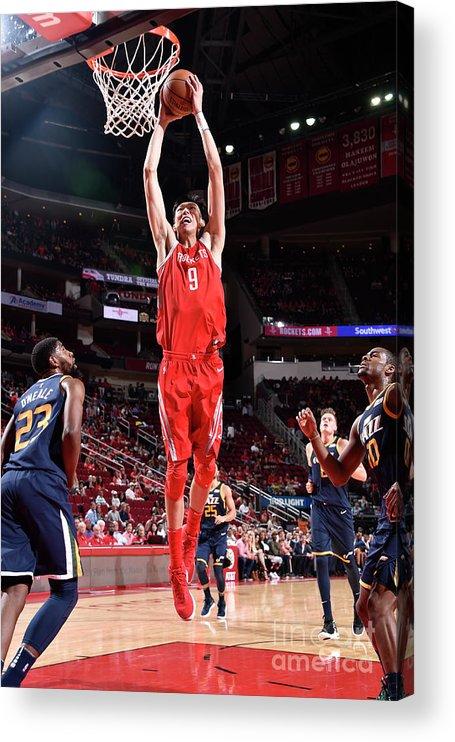 Nba Pro Basketball Acrylic Print featuring the photograph Zhou Qi by Bill Baptist