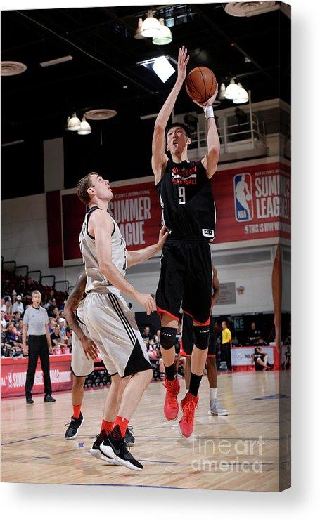 Nba Pro Basketball Acrylic Print featuring the photograph Zhou Qi by David Dow