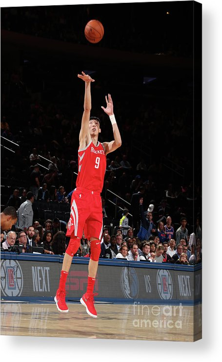 Nba Pro Basketball Acrylic Print featuring the photograph Zhou Qi by Nathaniel S. Butler