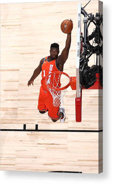 Nba Pro Basketball Acrylic Print featuring the photograph Zion Williamson by Nathaniel S. Butler