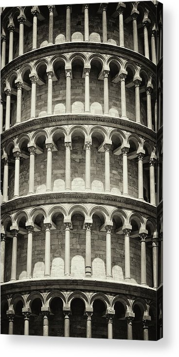 Architectural Column Acrylic Print featuring the photograph Leaning Tower Of Pisa, Tuscany Italy by Romaoslo