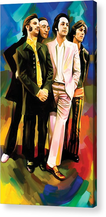 The Beatles Paintings Acrylic Print featuring the painting The Beatles Artwork 3 by Sheraz A