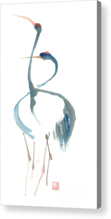 A Pair Of Cranes Dancing Acrylic Print featuring the painting Duet by Mui-Joo Wee