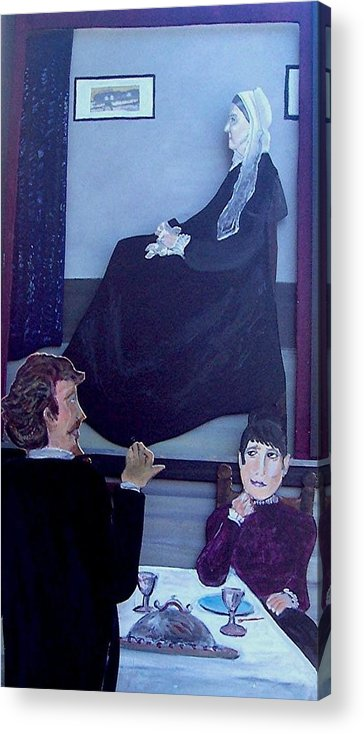 Whistler Acrylic Print featuring the relief Mother... Dinner Is Getting Cold by Richard Hubal