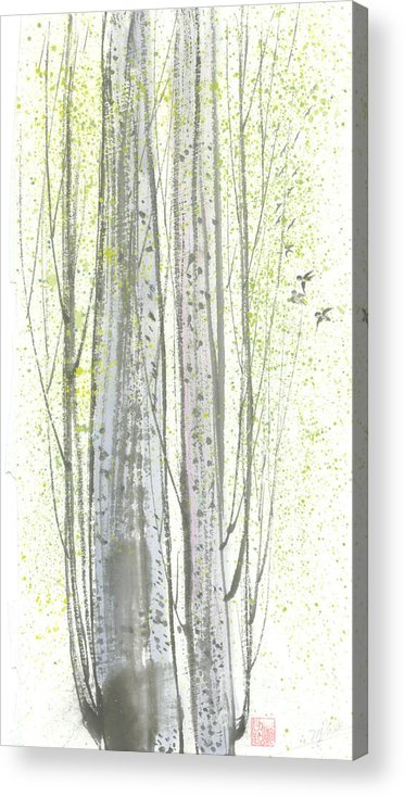 New Leaves Sprung Out From A Polar Tree With Birds Singing Among The Branches Acrylic Print featuring the painting New Leaves by Mui-Joo Wee