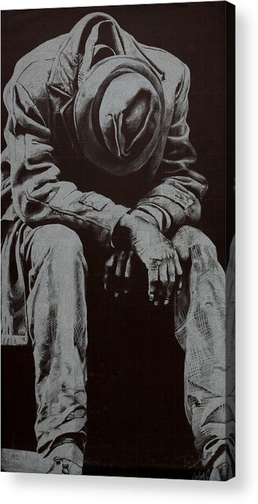 Figure Acrylic Print featuring the drawing Odis by Lamark Crosby