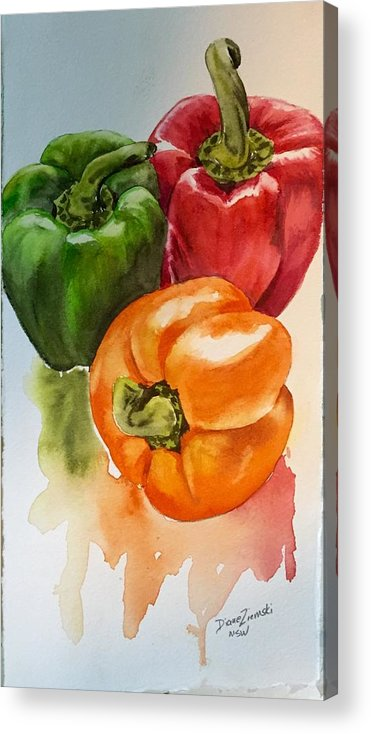 Peppers Acrylic Print featuring the painting Peppers 3 by Diane Ziemski