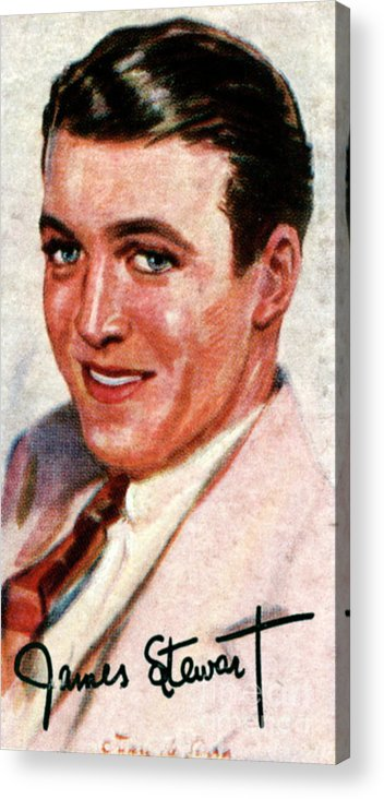 Jimmy Stewart Acrylic Print featuring the drawing Jimmy Stewart, 1908-1997, Academy Award by Print Collector