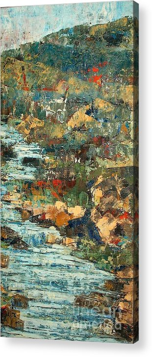 Landscape Acrylic Print featuring the painting Hilly Stream - SOLD by Judith Espinoza