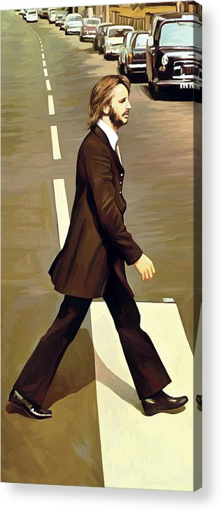 The Beatles Abbey Road Paintings Acrylic Print featuring the painting The Beatles Abbey Road Artwork Part 3 of 4 by Sheraz A