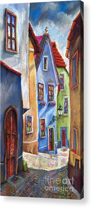 Cityscape Acrylic Print featuring the painting Cesky Krumlov Old Street by Yuriy Shevchuk